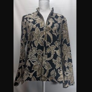 Appleseeds Wearable Art Floral Jacket Zip Front M